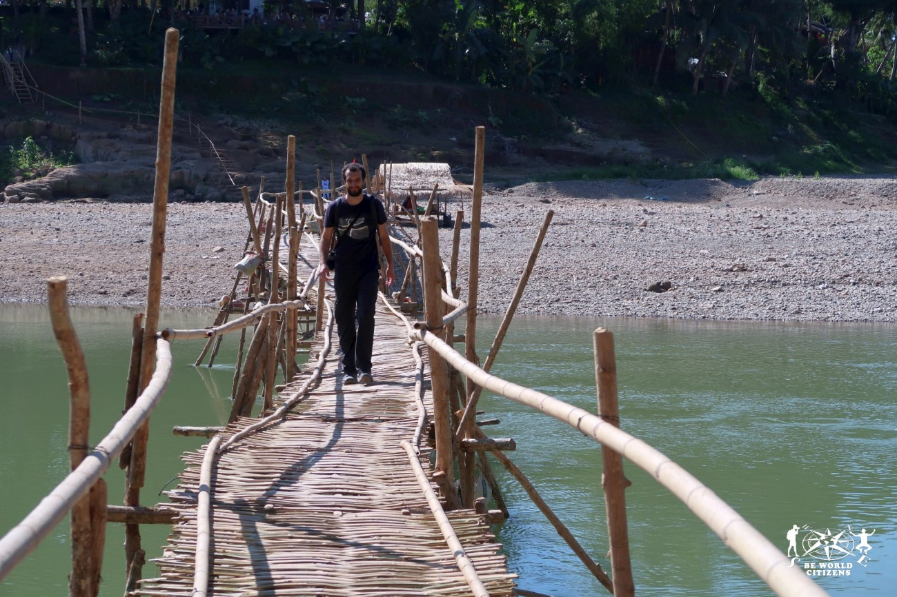 Laos: Luang Prabang, Bamboo Bridge