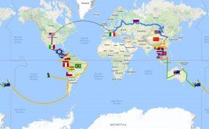 Mappa Giro Del Mondo con Bandiere
