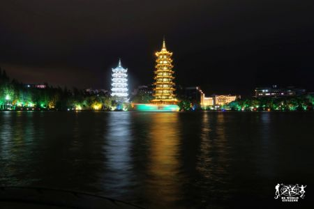Guilin: Twin Pagodas by night